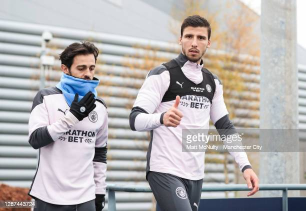 Bernardo Silva and Ruben Dias of Manchester City in action during the training session ahead of the UEFA Champions League Group C stage match between...