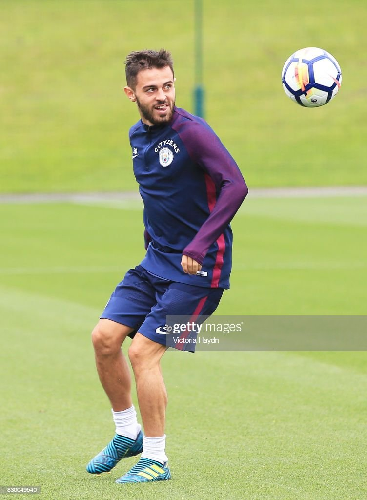 Bernardo Silva during Manchester City training at Etihad Campus on August 11, 2017 in Manchester, England.