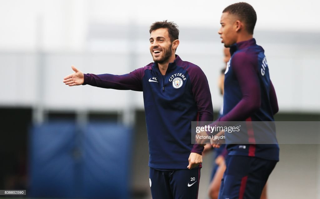 Bernardo Silva during training at Manchester City Football Academy on August 25, 2017 in Manchester, England.