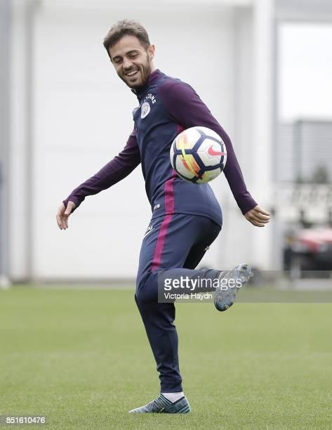 Bernardo Silva during training at Manchester City Football Academy on September 22 2017 in Manchester England