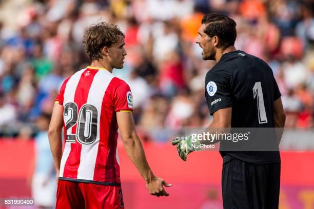 20 Bernardo Silva from Portugal of Manchester City and 01 Gorka Iraizoz from Spain of Girona FC during the Costa Brava Trophy match between Girona FC...