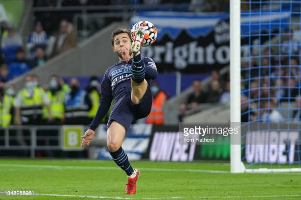 Bernardo Silva in the build up to the first goal, which was later scored by Ilkay Guendogan of Manchester City during the Premier League match...