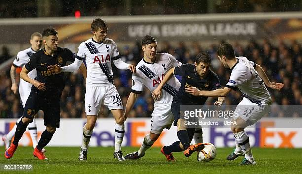 Bernardo Silva of AS Monaco FC takes on the Tottenham Hotspur FC defence during the UEFA Europa League group J match between Tottenham Hotspur FC and...