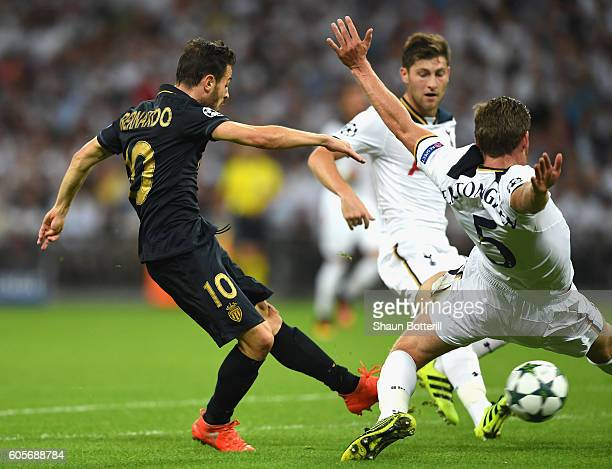 Bernardo Silva of AS Monaco scores the opener during the UEFA Champions League match between Tottenham Hotspur FC and AS Monaco FC at Wembley Stadium...