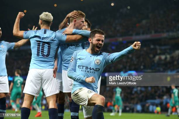 Bernardo Silva of Man City celebrates their 4th goal during the UEFA Champions League Quarter Final second leg match between Manchester City and...