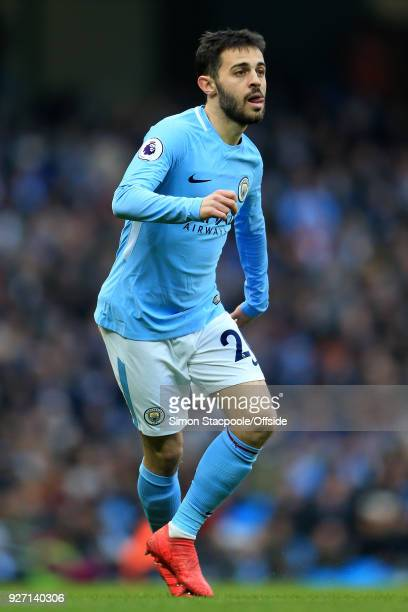 Bernardo Silva of Man City in action during the Premier League match between Manchester City and Chelsea at the Etihad Stadium on March 4 2018 in...