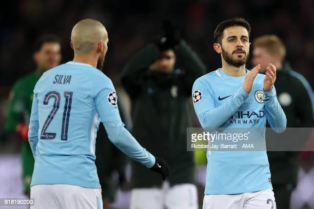 Bernardo Silva of Manchester City applauds the fans during the UEFA Champions League Round of 16 First Leg match between FC Basel and Manchester City...
