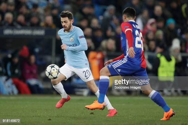 Bernardo Silva of Manchester City Blas Riveros of FC Basel during the UEFA Champions League match between Fc Basel v Manchester City at the St...