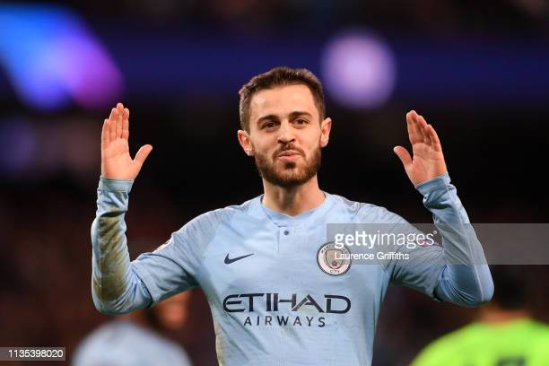 Bernardo Silva of Manchester City celebrates after he scores his team's fifth goal during the UEFA Champions League Round of 16 Second Leg match...