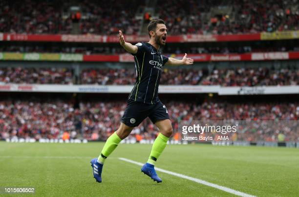 Bernardo Silva of Manchester City celebrates after scoring a goal to make it 02 during the Premier League match between Arsenal FC and Manchester...