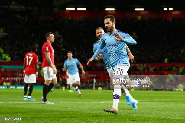 Bernardo Silva of Manchester City celebrates after scoring a goal to make it 01 during the Carabao Cup Semi Final match between Manchester United and...