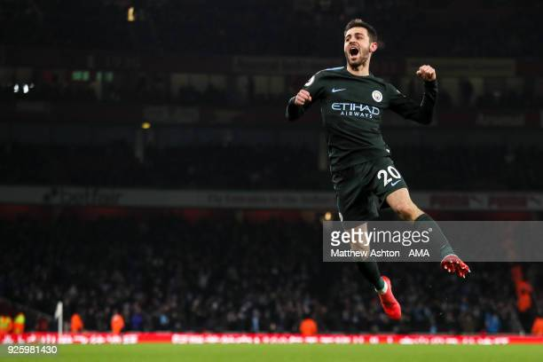 Bernardo Silva of Manchester City celebrates after scoring a goal to make it 01 during the Premier League match between Arsenal and Manchester City...
