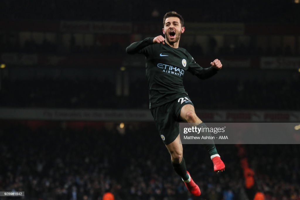 Bernardo Silva of Manchester City celebrates after scoring a goal to make it 0-1 during the Premier League match between Arsenal and Manchester City at Emirates Stadium on March 1, 2018 in London, England.