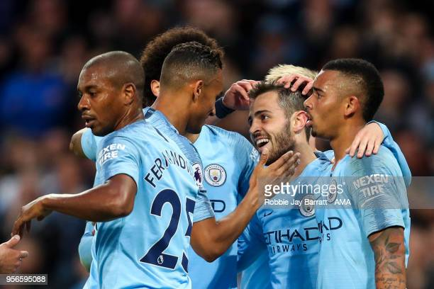 Bernardo Silva of Manchester City celebrates after scoring a goal to make it 21 during the Premier League match between Manchester City and Brighton...