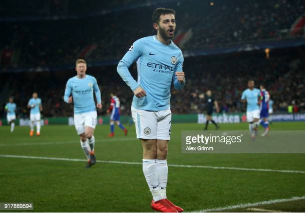 Bernardo Silva of Manchester City celebrates after scoring his sides second goal during the UEFA Champions League Round of 16 First Leg match between...
