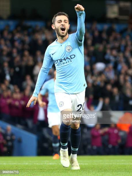 Bernardo Silva of Manchester City celebrates after scoring his sides second goal during the Premier League match between Manchester City and Brighton...
