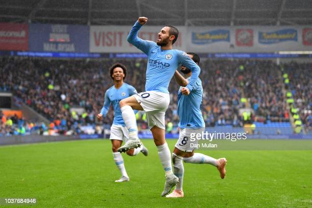 Bernardo Silva of Manchester City celebrates after scoring his team's second goal during the Premier League match between Cardiff City and Manchester...