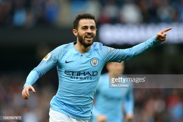 Bernardo Silva of Manchester City celebrates after scoring his team's second goal during the Premier League match between Manchester City and Burnley...