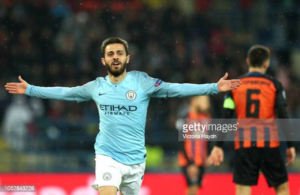 Bernardo Silva of Manchester City celebrates after scoring his team's third goal during the Group F match of the UEFA Champions League between FC...