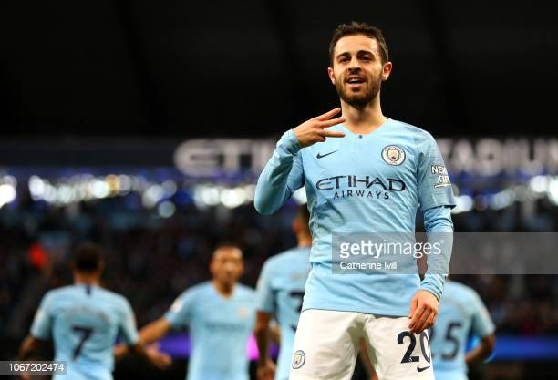 Bernardo Silva of Manchester City celebrates after scoring his team's first goal during the Premier League match between Manchester City and AFC...