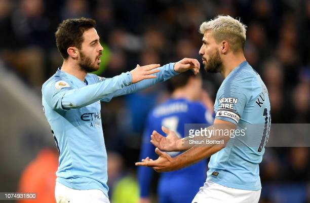 Bernardo Silva of Manchester City celebrates after scoring his team's first goal with Sergio Aguero of Manchester City during the Premier League...