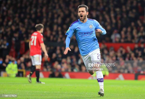 Bernardo Silva of Manchester City celebrates after scoring his team's first goal during the Carabao Cup Semi Final match between Manchester United...