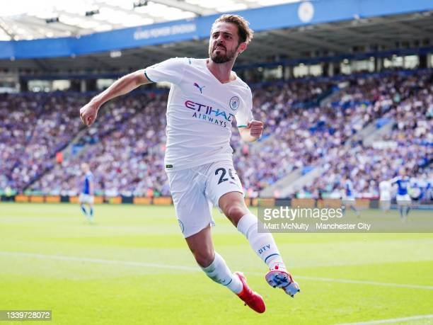 Bernardo Silva of Manchester City celebrates after scoring his teams first goal during the Premier League match between Leicester City and Manchester...