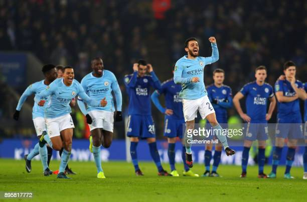 Bernardo Silva of Manchester City celebrates after they win the penalty shootout during the Carabao Cup QuarterFinal match between Leicester City and...