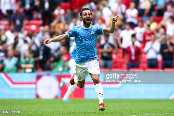 Bernardo Silva of Manchester City celebrates during the FA Community Shield fixture between Liverpool and Manchester City at Wembley Stadium on...