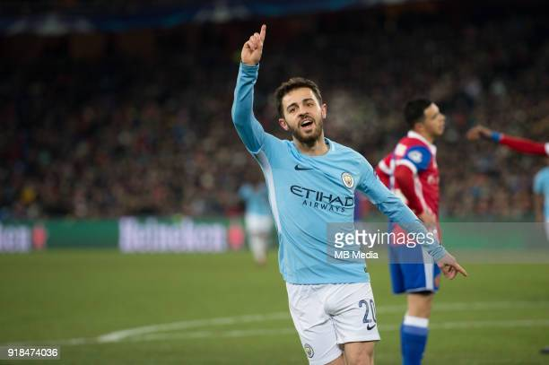 Bernardo Silva of Manchester City celebrates his first goal during the UEFA Champions League match between Fc Basel v Manchester City at the St...