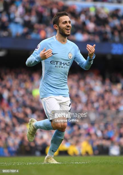 Bernardo Silva of Manchester City celebrates his goal during the Premier League match between Manchester City and Swansea City at Etihad Stadium on...