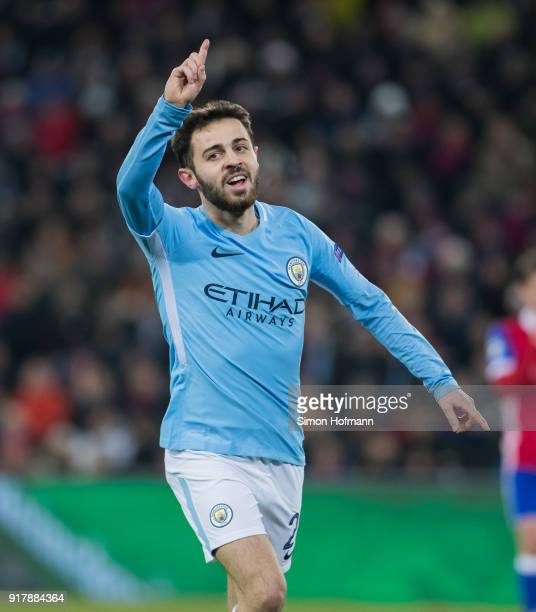 Bernardo Silva of Manchester City celebrates his team's second goal during the UEFA Champions League Round of 16 First Leg match between FC Basel and...