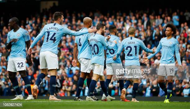 Bernardo Silva of Manchester City celebrates scoring during the Premier League match between Manchester City and Burnley FC at Etihad Stadium on...