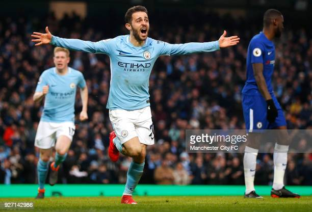 Bernardo Silva of Manchester City celebrates scoring his side's first goal during the Premier League match between Manchester City and Chelsea at...
