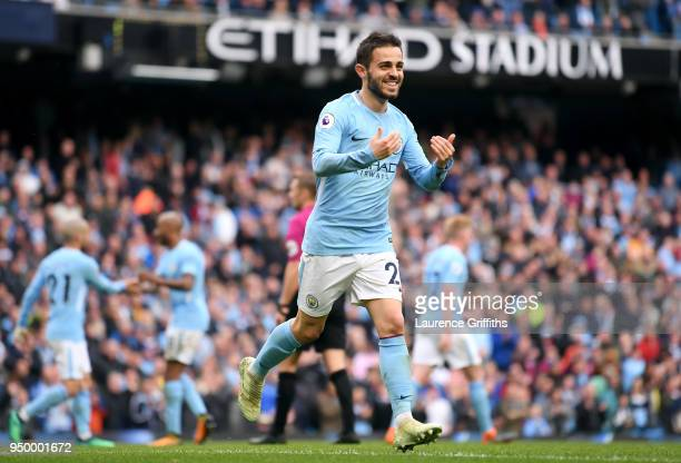 Bernardo Silva of Manchester City celebrates scoring his side's fourth goal during the Premier League match between Manchester City and Swansea City...