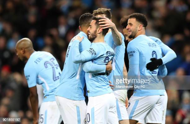 Bernardo Silva of Manchester City celebrates scoring his team's fourth goal during The Emirates FA Cup Third Round match between Manchester City and...