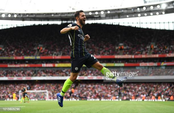 Bernardo Silva of Manchester City celebrates scoring his team's second goal during the Premier League match between Arsenal FC and Manchester City at...