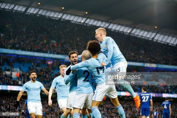 Bernardo Silva of Manchester City celebrates scoring the winning goal during the Premier League match between Manchester City and Chelsea at Etihad...
