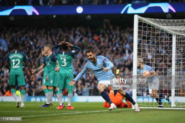 Bernardo Silva of Manchester City celebrates scoring their 2nd goal during the UEFA Champions League Quarter Final second leg match between...
