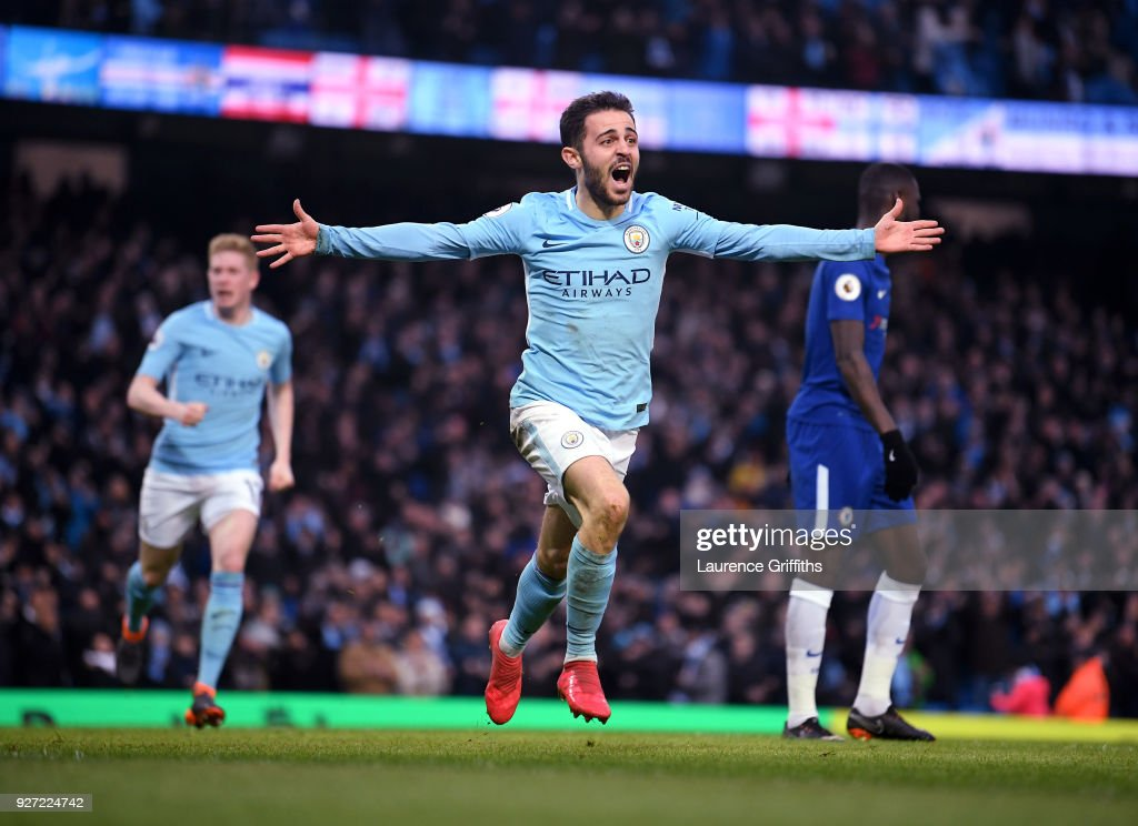 Bernardo Silva of Manchester City celebrates scrong the winning goal during the Premier League match between Manchester City and Chelsea at Etihad Stadium on March 4, 2018 in Manchester, England.