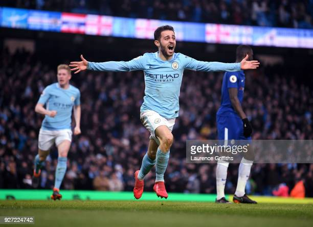 Bernardo Silva of Manchester City celebrates scrong the winning goal during the Premier League match between Manchester City and Chelsea at Etihad...