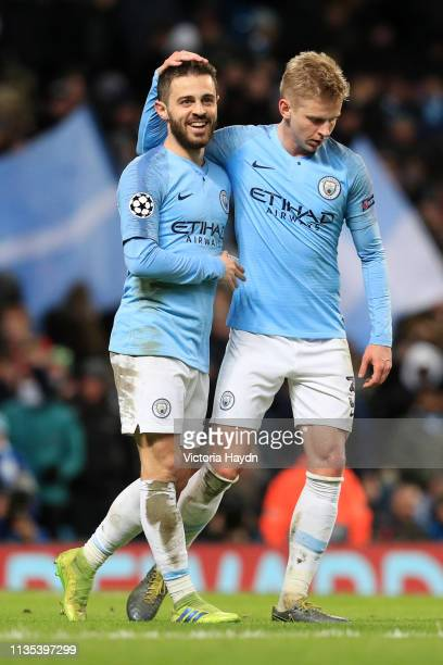 Bernardo Silva of Manchester City celebrates with Oleksandr Zinchenko of Manchester City after he scores his team's fifth goal during the UEFA...