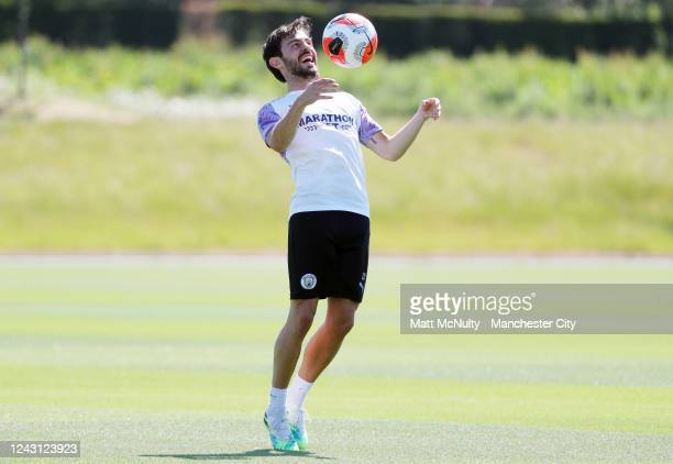 Bernardo Silva of Manchester City controls the ball during a training session at Manchester City Football Academy on June 01 2020 in Manchester...