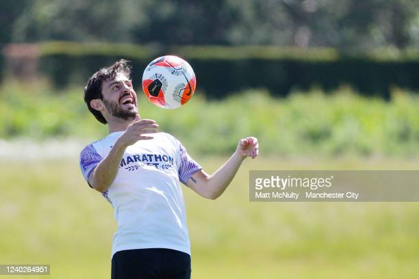 Bernardo Silva of Manchester City controls the ball during the training session at Manchester City Football Academy on June 01 2020 in Manchester...