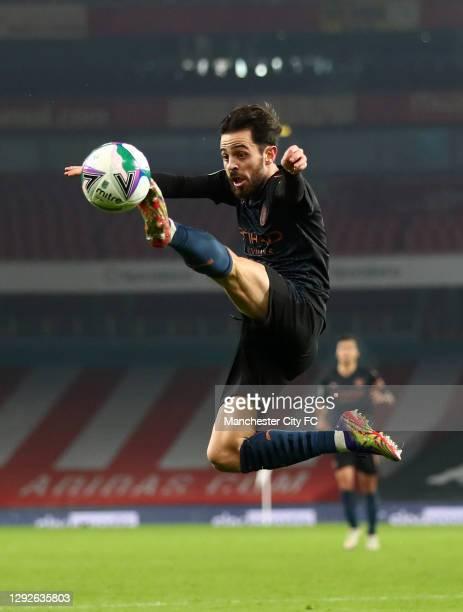 Bernardo Silva of Manchester City controls the ball during the Carabao Cup Quarter Final match between Arsenal and Manchester City at Emirates...