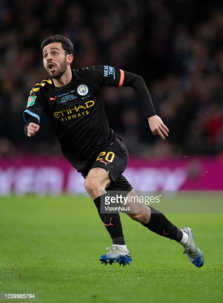 Bernardo Silva of Manchester City during the Carabao Cup Final between Aston Villa and Manchester City at Wembley Stadium on March 01 2020 in London...