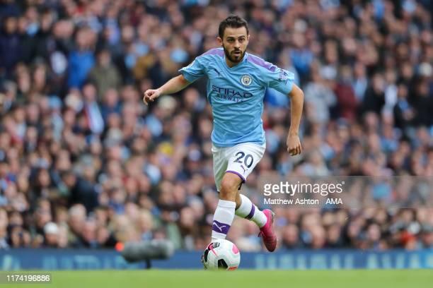 Bernardo Silva of Manchester City during the Premier League match between Manchester City and Wolverhampton Wanderers at Etihad Stadium on October 6,...