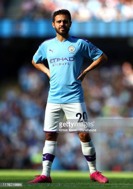 Bernardo Silva of Manchester City during the Premier League match between Manchester City and Watford FC at Etihad Stadium on September 21, 2019 in...