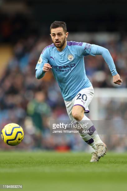 Bernardo Silva of Manchester City during the Premier League match between Manchester City and Crystal Palace at Etihad Stadium on January 18, 2020 in...