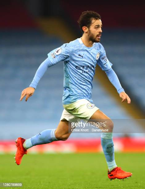 Bernardo Silva of Manchester City during the Premier League match between Manchester City and Arsenal at Etihad Stadium on October 17 2020 in...